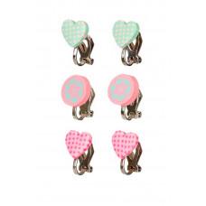 Souza - Børnesmykker - Øreringe med clips - Hjerter og runde