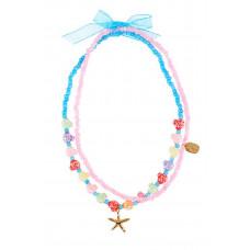 Souza - Børnesmykker - Halskæde - Guld søstjerne og perler i pastelfarver - Samira
