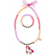 Souza - Børnesmykker - Halskæde og armbånd - Glimmer hest og perler i pastelfarver - Sofia