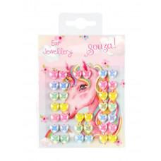 Souza - Klistermærker som øreringe - Enhjørning pastel hjerter