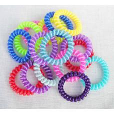 Hårelastikker - Spiral elastikker - silikone - Assorterede transparente farver - 5 stk.
