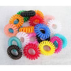 Hårelastikker - Spiral elastikker - silikone - Assorterede farver - 5 stk.