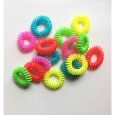 Hårelastikker - Spiral silikone - assorterede neon farver - 10 stk.