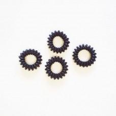 Hårelastikker - Spiral elastikker - silikone - Sorte - 4 stk.