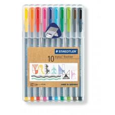 Staedtler - Triplus Fineliner tuscher - Brilliant Colours - 10 stk. (Fåes også med navn)