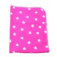 Babytæppe - Hvide stjerner øko tex - Pink