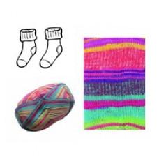 DIY - Lækre strømpe Strikke kit - I superwash merino uld - Pink og turkis farver - str. 34 - 43