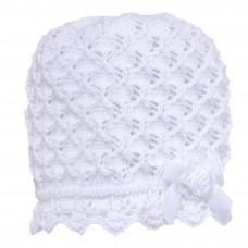 Perfect Day - Dåbshue - Hvid - Strikket - med lille rose & sløjfe