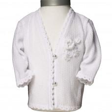 Perfect Day - Trøje - Hvid - Strikket - med Blomst og knapper