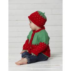 Svarta Fåret - Strikkeopskrift - Baby jordbær cardigan og hue