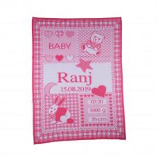 Strikket Babytæppe med navn og data - Økologisk GOTS certificeret - Candy rose