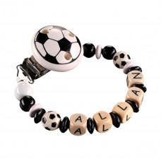 DIY - Lav selv suttekæde i træperler - Fodbold sort