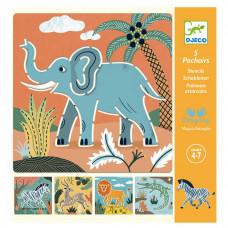 Djeco - Tegneskabeloner - Vilde dyr
