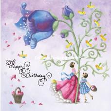 Lykønskningskort - Fødselsdagskort - Blomster vals