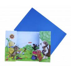 Lykønskningskort - Fødselsdagskort - Pop up kort - Hunde leg