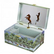 Trousselier - Smykkeskrin selvlysende med musik - Brune heste