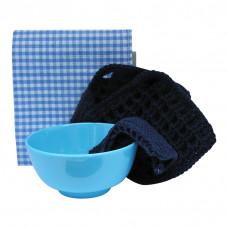 Lege Køkken sæt - Håndlavet Viskestykke, grydelapper, karklud og lille skål - Navy
