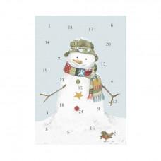 Wrendale - Gammeldags julekort med julekalender med glimmer - Snemand